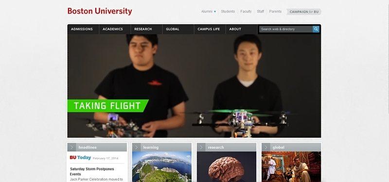 Desain website universitas keren - boston university