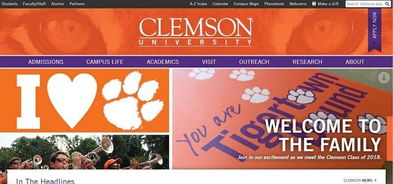 Desain Website Universitas Keren - Clemson University
