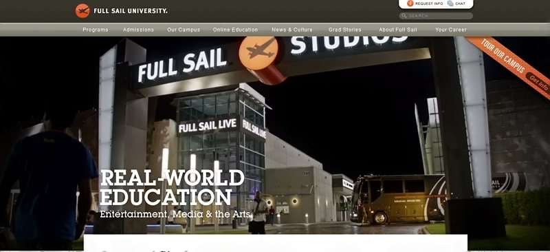Desain Website Universitas Keren - Full Sail University