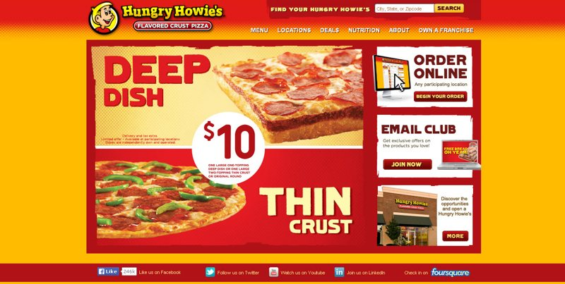 desain website kuliner hungry howie's