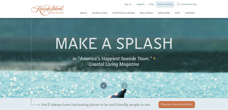 Web Design with Fixed Header kiawahisland