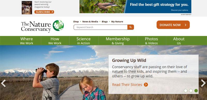 nonprovit website design NATURE