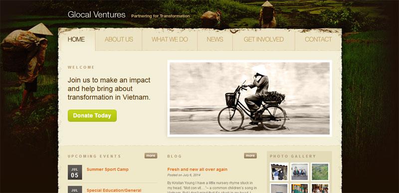 Nonprofit website design GLOCALVENTURES