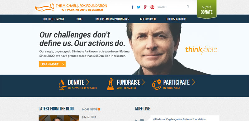 Nonprofit website design MICHAELJFOX
