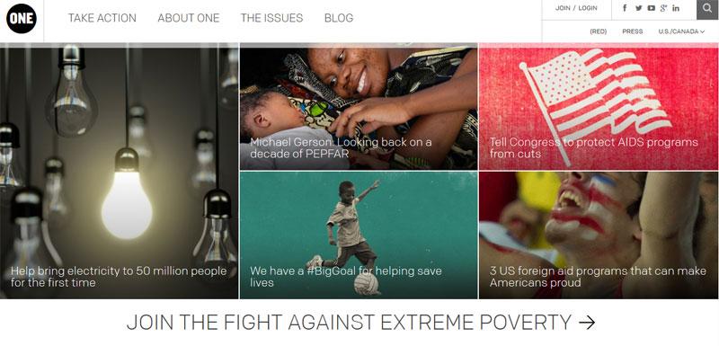 Nonprofit website design ONE