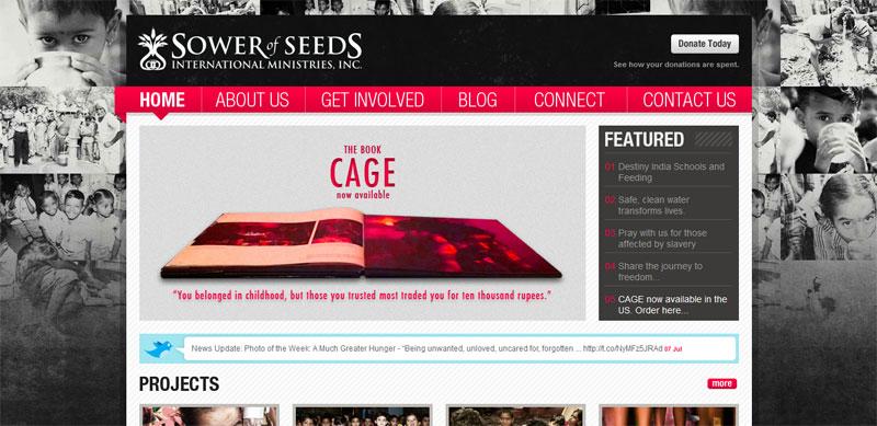 Nonprofit website design SOWEROFSEEDS