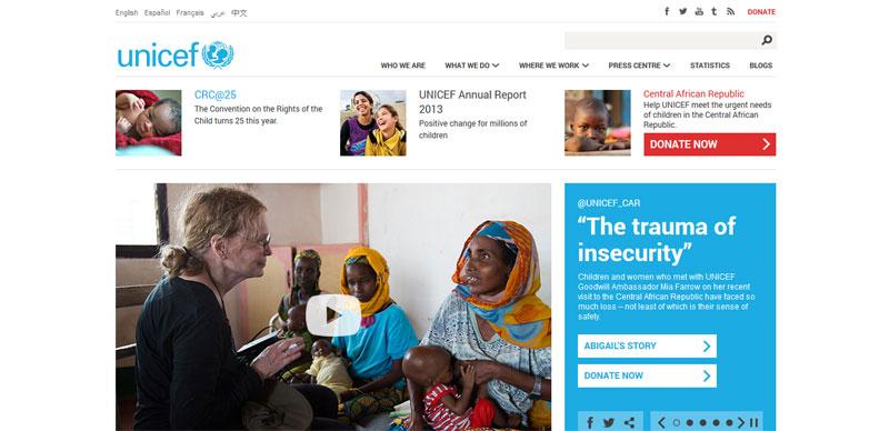 nonprovit website design UNICEF