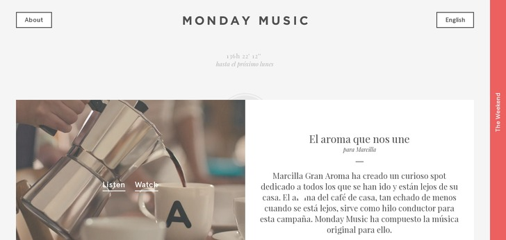 Single Page Web Design mondaymusic