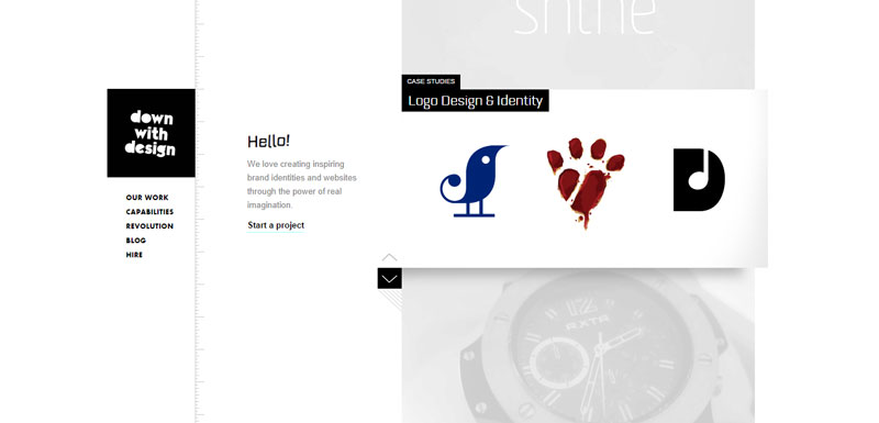 black and white website Down-the-design