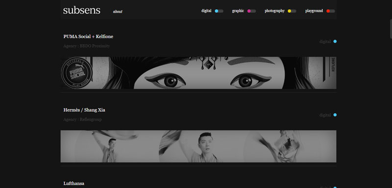 Black ang white website Subsens