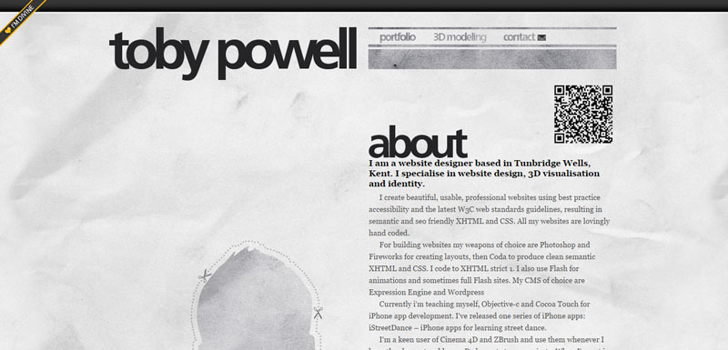 black and white website toby-powell