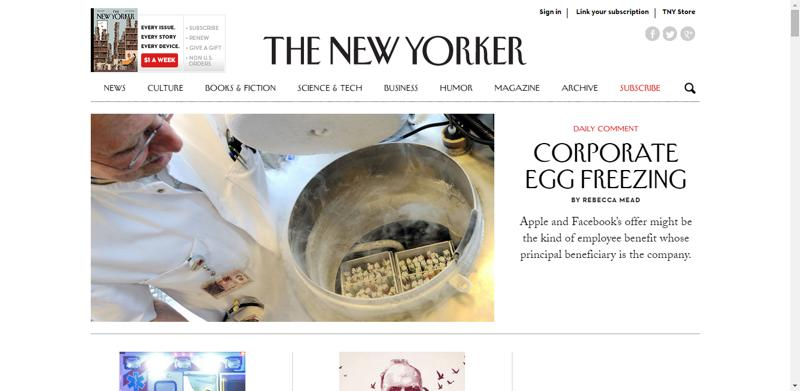 typhography web design newyorker