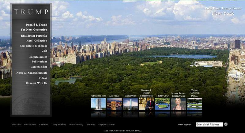 inspirasi desain web real estate -  Trump Real Estate