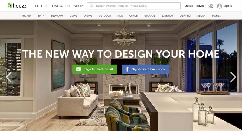 inspirasi desain web real estate - houzz